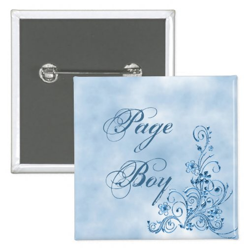 Page Boy Square Button: Sky Blue Elegance