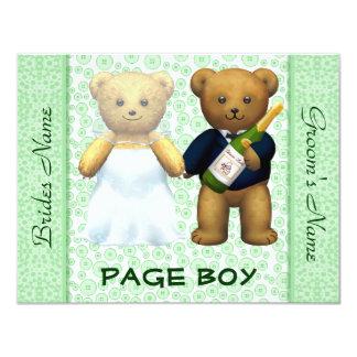 Page Boy - Teddy Bears Apple Green Wedding Invite