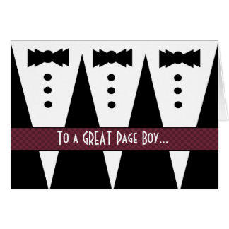 PAGE BOY Thank You - Three Tuxedos Greeting Card