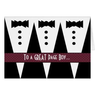 PAGE BOY Thank You - Three Tuxedos Greeting Card