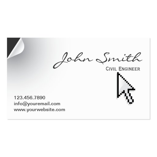 Page Curl Civil Engineer Business Card