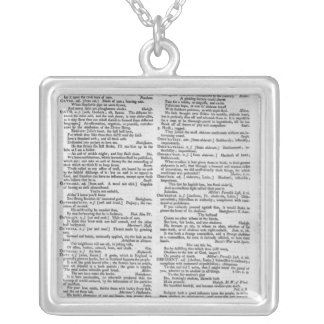 Page from a Dictionary Silver Plated Necklace