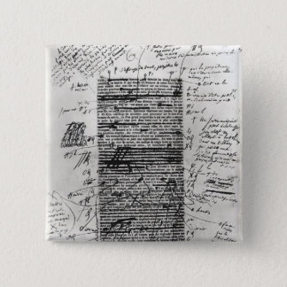 Page from one of Balzac's works 15 Cm Square Badge