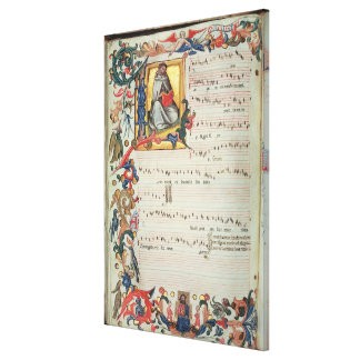 Page of musical notation with a historiated canvas print