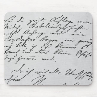 Page of text with his signature mouse pad