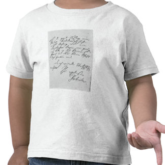 Page of text with his signature t shirts