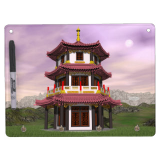 Pagoda - 3D render Dry Erase Board With Key Ring Holder
