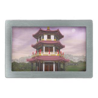 Pagoda - 3D render Rectangular Belt Buckle