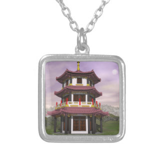 Pagoda - 3D render Silver Plated Necklace
