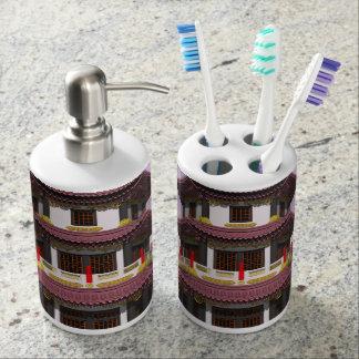 Pagoda - 3D render Soap Dispenser And Toothbrush Holder