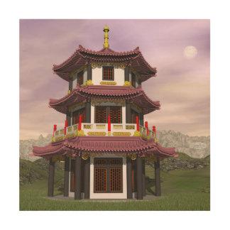 Pagoda - 3D render Wood Print
