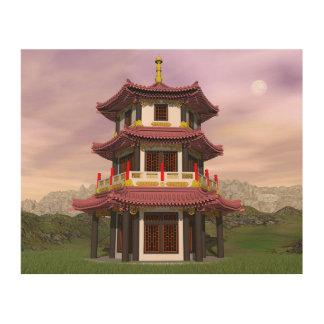 Pagoda - 3D render Wood Wall Art