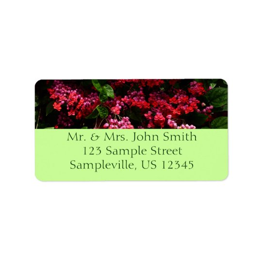 Pagoda Flowers Colourful Red and Pink Floral Address Label
