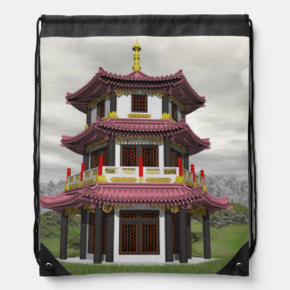 Pagoda in nature - 3D render Drawstring Bag