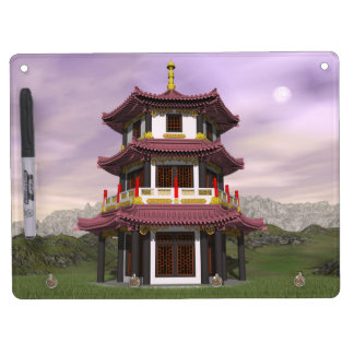 Pagoda in nature - 3D render Dry Erase Board With Key Ring Holder