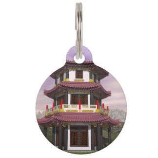Pagoda in nature - 3D render Pet Name Tag
