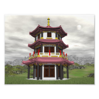 Pagoda in nature - 3D render Photo Print