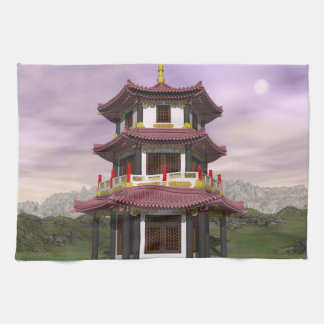 Pagoda in nature - 3D render Tea Towel