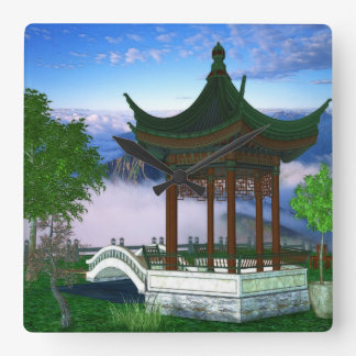 Pagoda Nature Landscape Fantasy Art Square Wall Clock