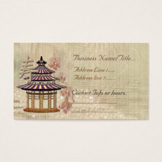 Pagoda Rose Mixed Media Orential Business Card