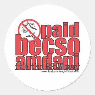 Paid becso amdani round sticker