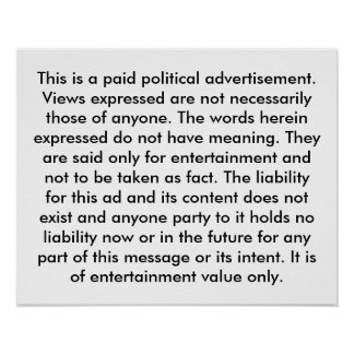 Paid Political Advertisement Poster Election Humor