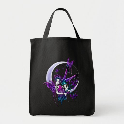 """""""Paige"""" Rainbow Butterfly Moon Fairy Canvas Tote Tote Bag"""