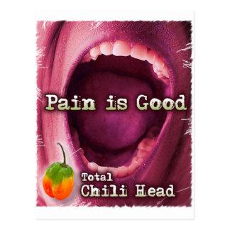 Pain is Good- Chile Head Postcard