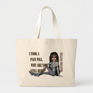 pain pill large tote bag