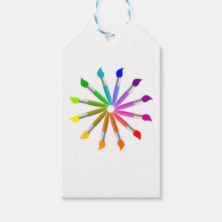 Paint Brush Color Wheel, Art Teacher color theory Gift Tags