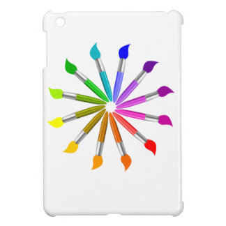 Paint Brush Color Wheel, Art Teacher color theory iPad Mini Covers