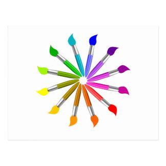 Paint Brush Color Wheel, Art Teacher color theory Postcard