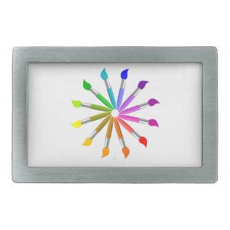 Paint Brush Color Wheel, Art Teacher color theory Rectangular Belt Buckle