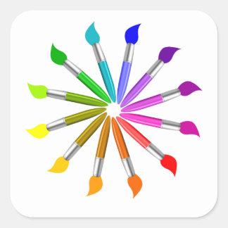 Paint Brush Color Wheel, Art Teacher color theory Square Sticker