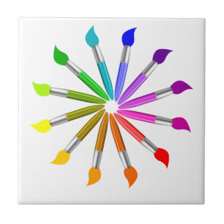 Paint Brush Color Wheel, Art Teacher color theory Tile