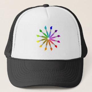 Paint Brush Color Wheel, Art Teacher color theory Trucker Hat