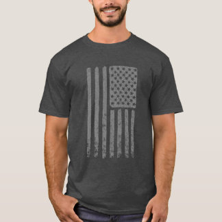 PAINT BRUSHED WHITE AMERICAN FLAG T-SHIRT
