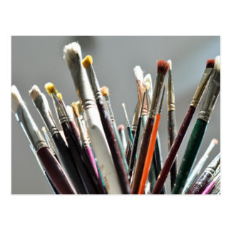 Paint brushes in the sunlight postcard