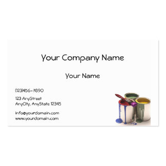 Paint Cans in Red Green Yellow at Lower Corner Pack Of Standard Business Cards