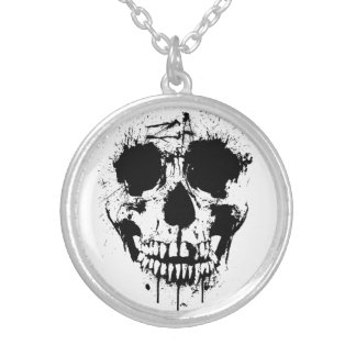 paint drip skull necklace