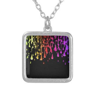 Paint Drops Design Square Pendant Necklace