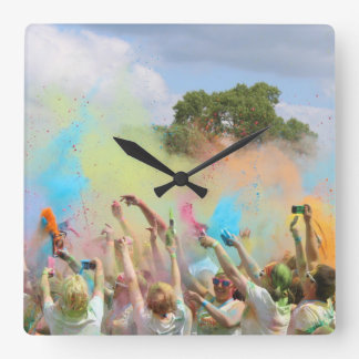 Paint Festival Square Wall Clock