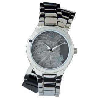 Paint Gray and Turqoise Personalized Watch