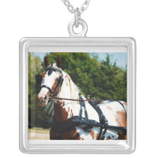 Paint horse at National Drive Square Pendant Necklace