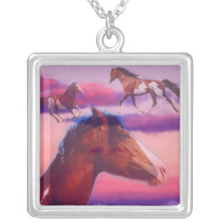 Paint Horse collage, Necklace