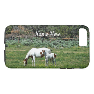 Paint Horse Mare and Foal Personalized iPhone 8 Plus/7 Plus Case