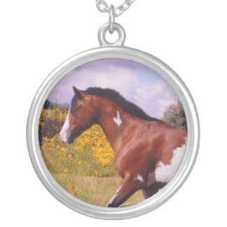 Paint Horse trotting Silver Necklace
