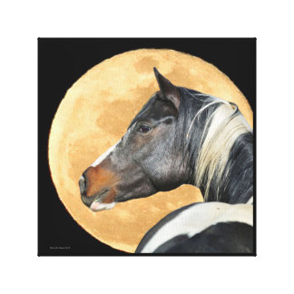 Paint horse With Full Moon Canvas Print