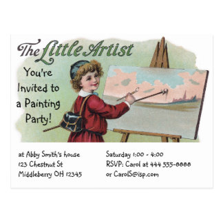 Paint Party with Vintage Artist at Work Postcard
