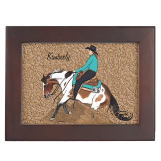 Paint Reining Horse Keepsake Box